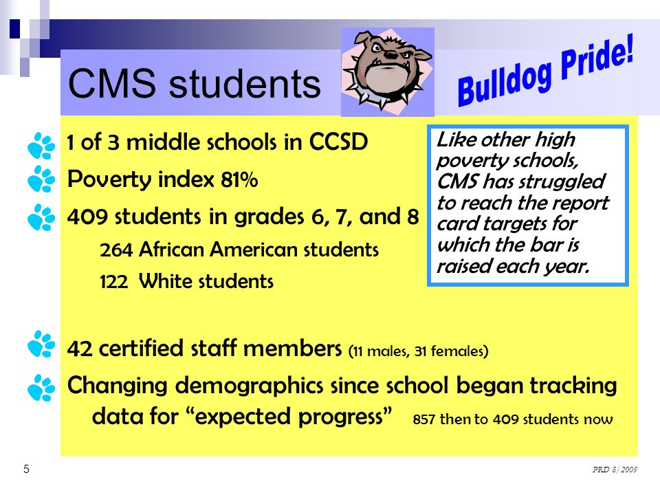 CMS students Bulldog Pride! 1 of 3 middle schools in CCSD