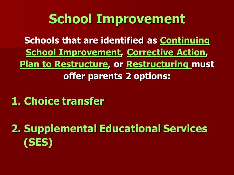 School Improvement 2. Supplemental Educational Services (SES)