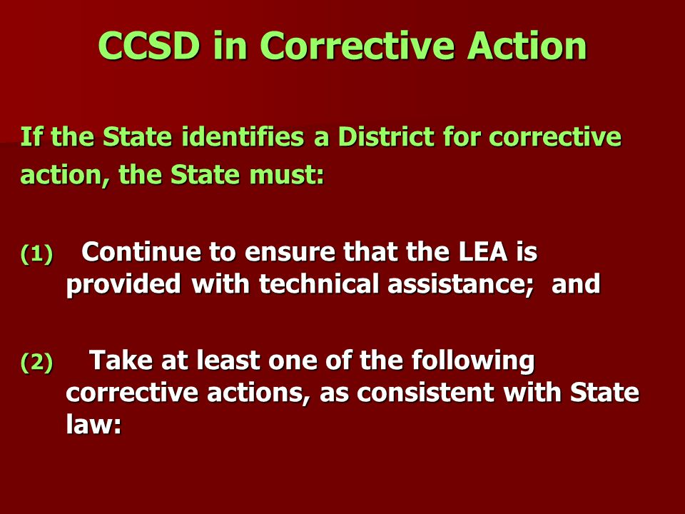 CCSD in Corrective Action