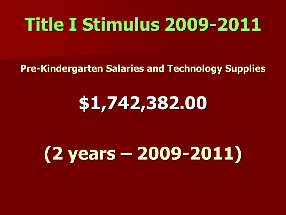 Pre-Kindergarten Salaries and Technology Supplies