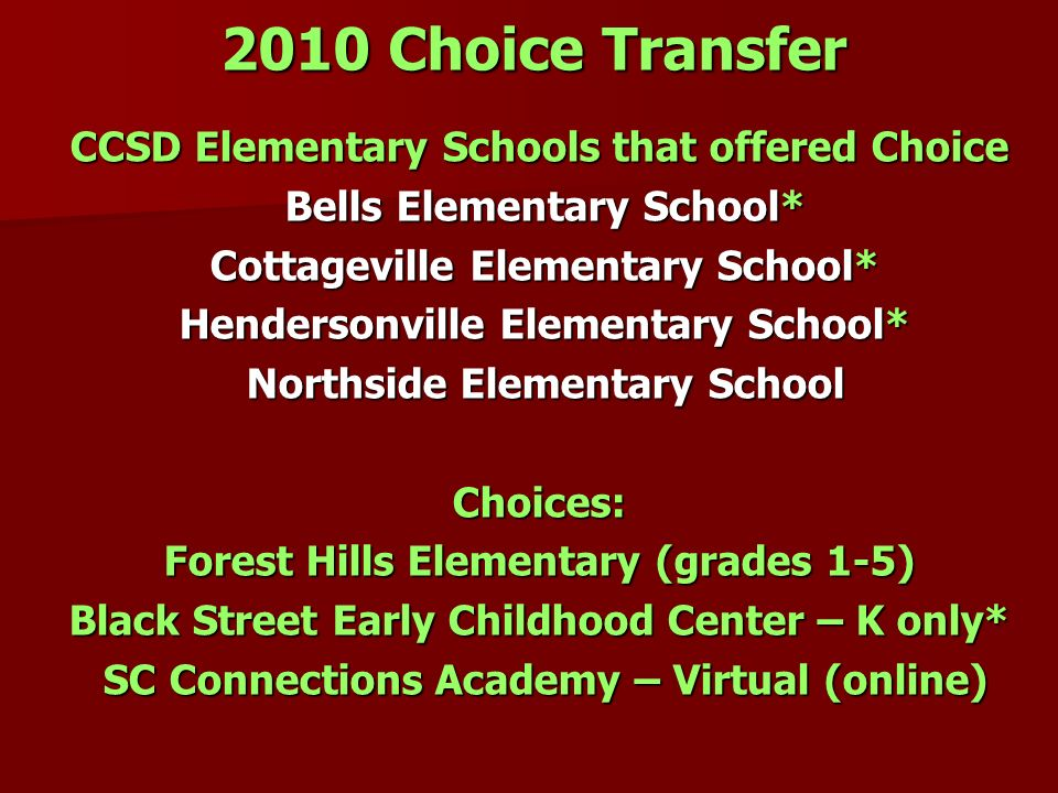 2010 Choice Transfer CCSD Elementary Schools that offered Choice