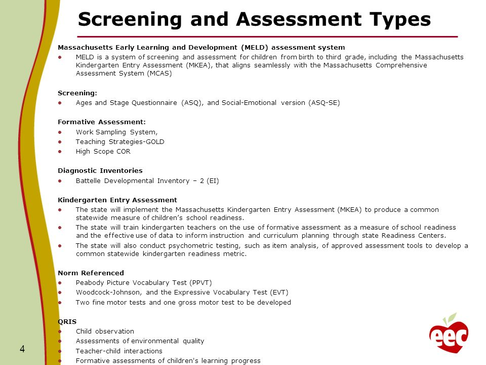 Screening and Assessment Types