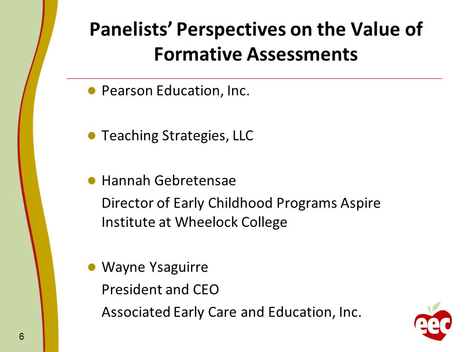 Panelists' Perspectives on the Value of Formative Assessments