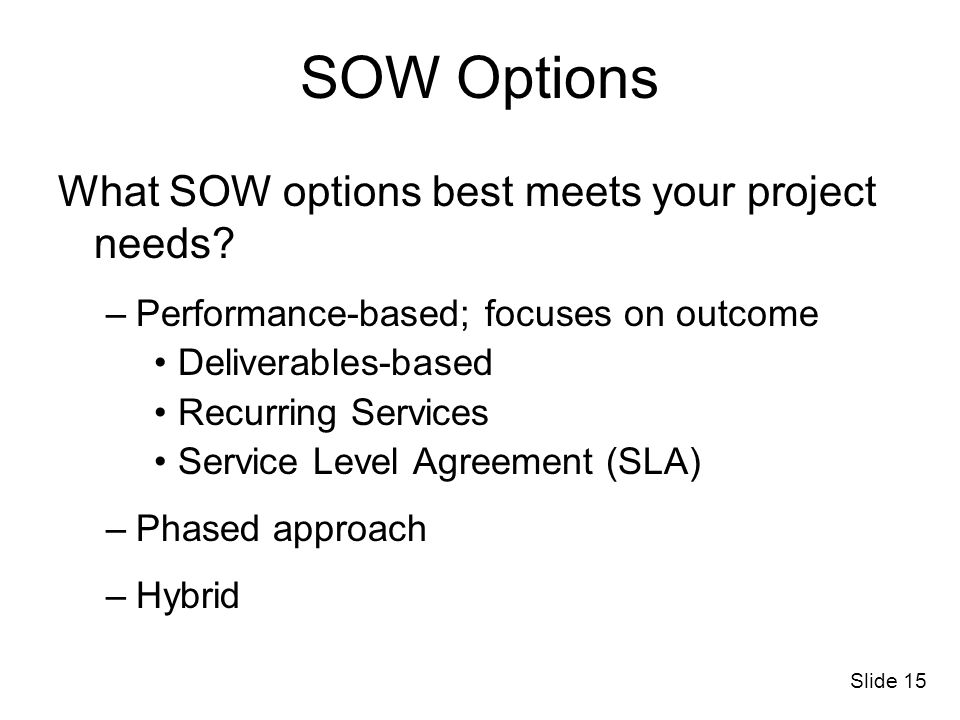 SOW Options What SOW options best meets your project needs