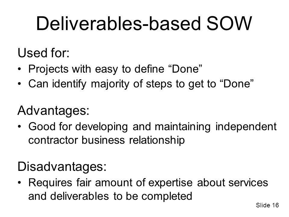 Deliverables-based SOW