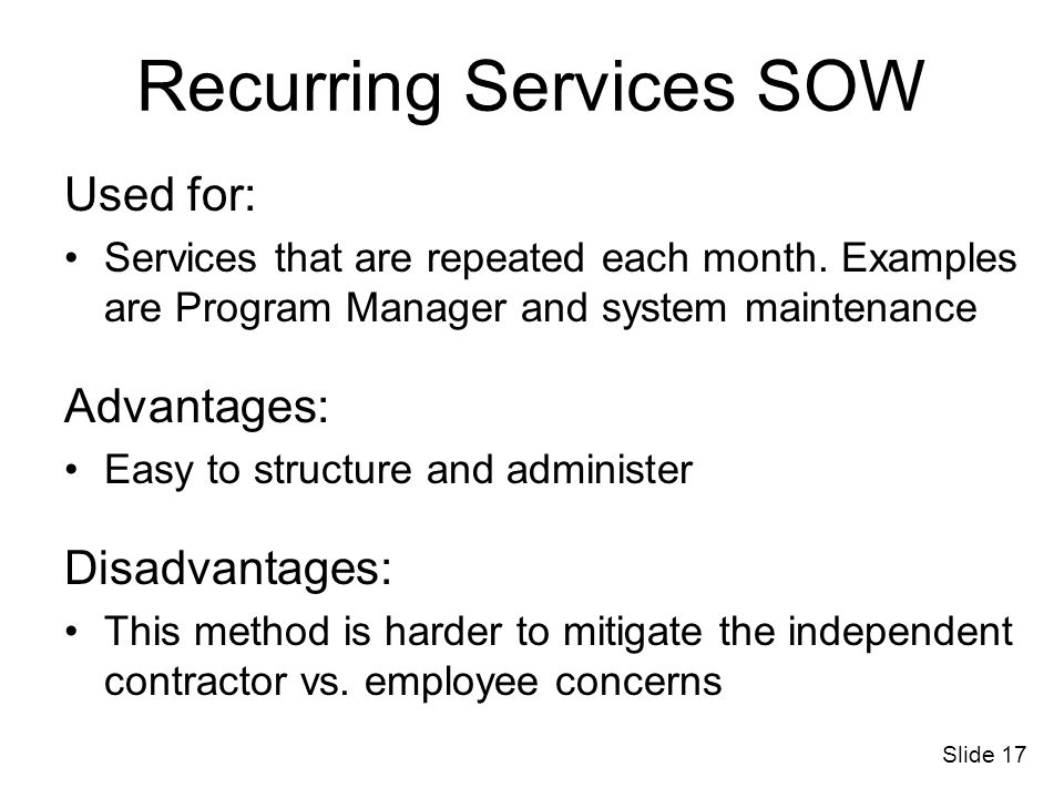 Recurring Services SOW