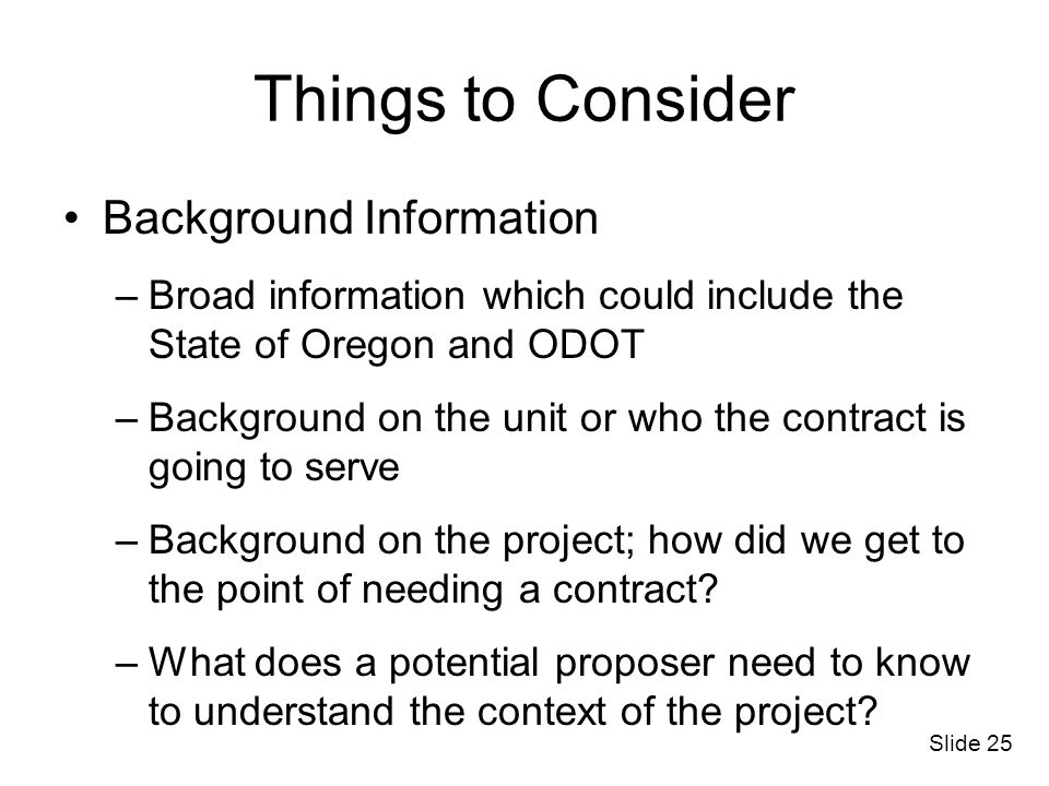 Things to Consider Background Information