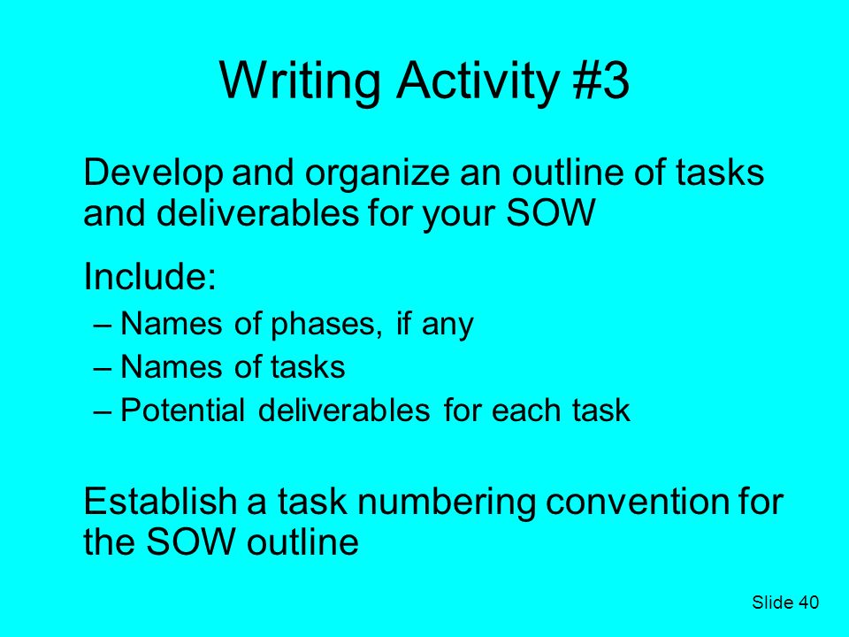 Writing Activity #3 Develop and organize an outline of tasks and deliverables for your SOW. Include: