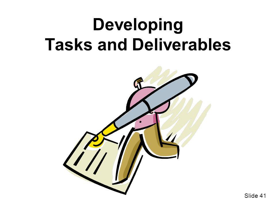 Developing Tasks and Deliverables
