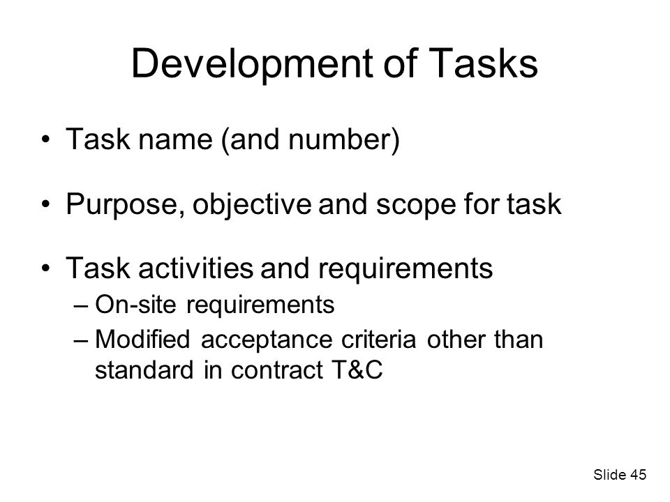 Development of Tasks Task name (and number)