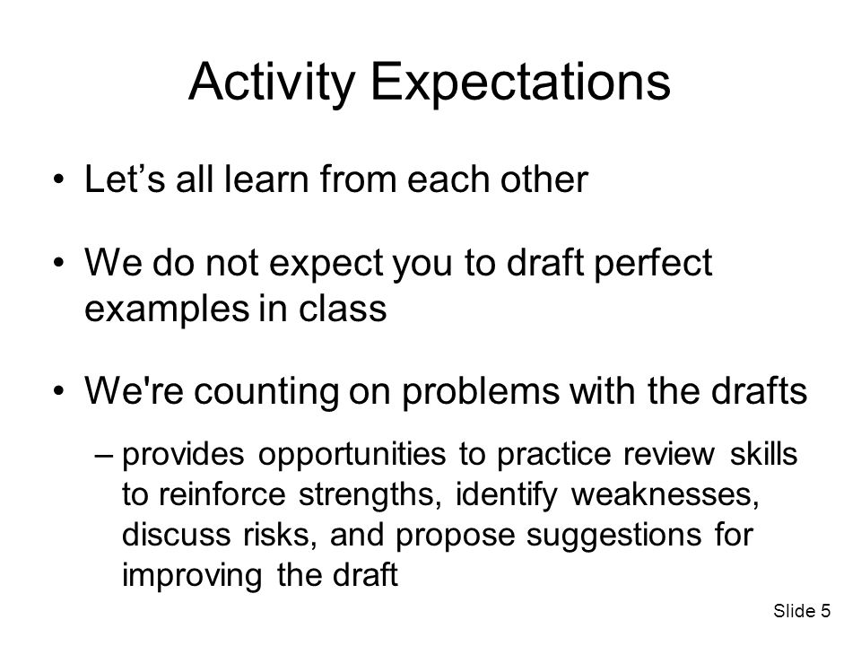 Activity Expectations