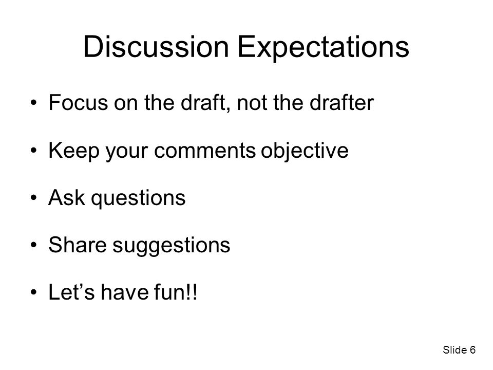 Discussion Expectations