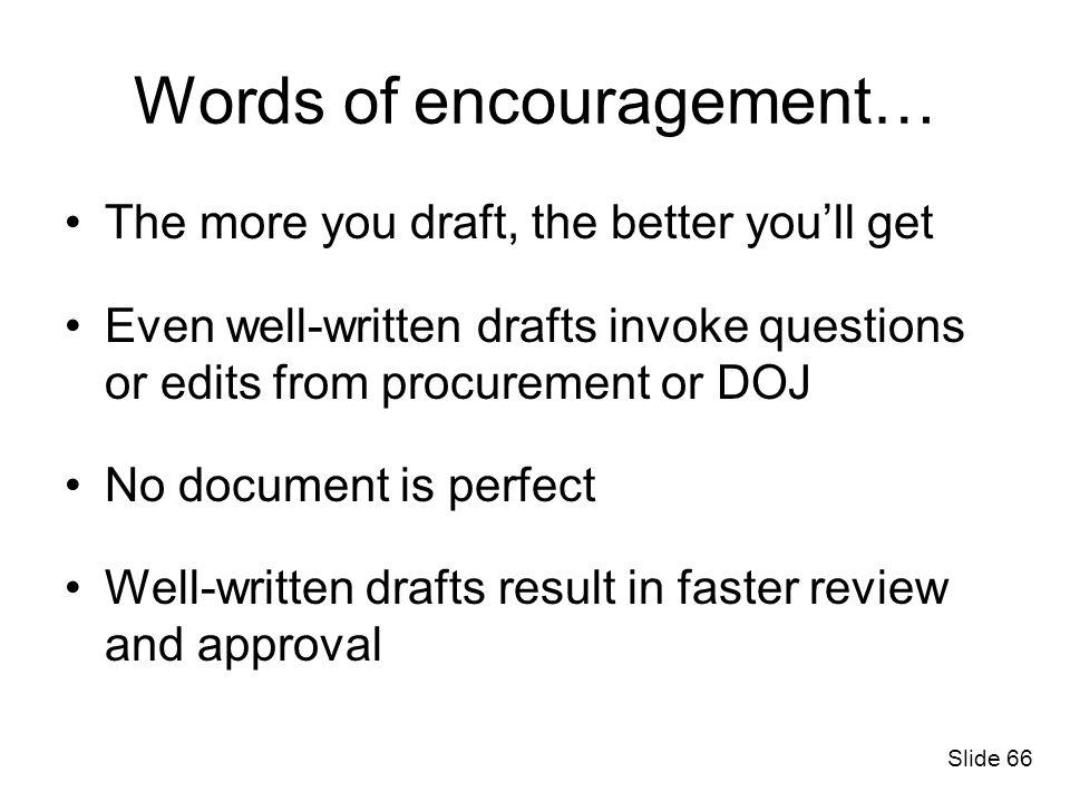 Words of encouragement…