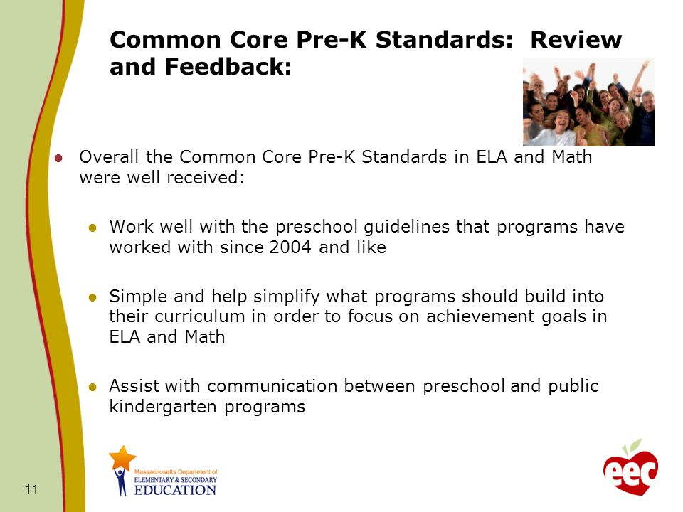 Common Core Pre-K Standards: Review and Feedback: