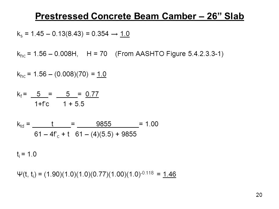 Prestressed Concrete Beam Camber – 26 Slab