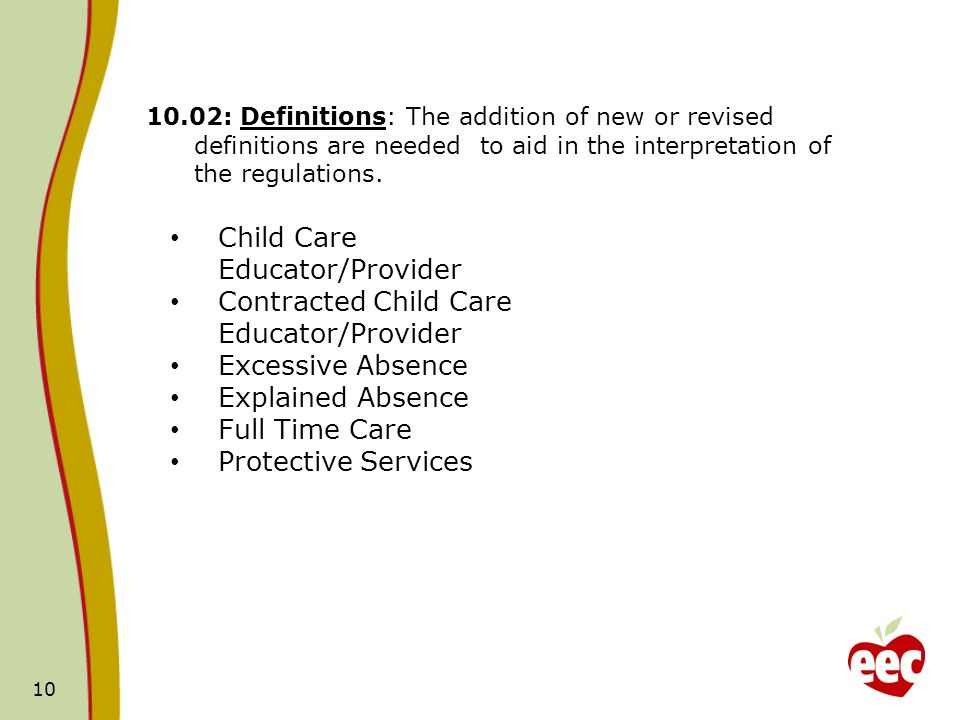 Child Care Educator/Provider Contracted Child Care Educator/Provider