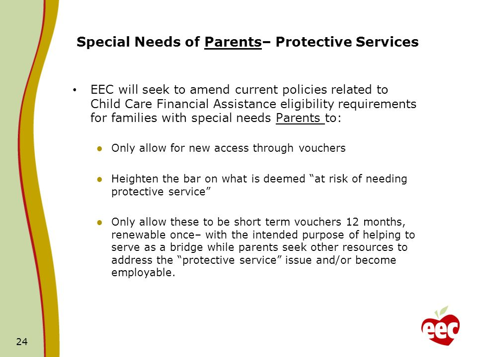 Special Needs of Parents– Protective Services