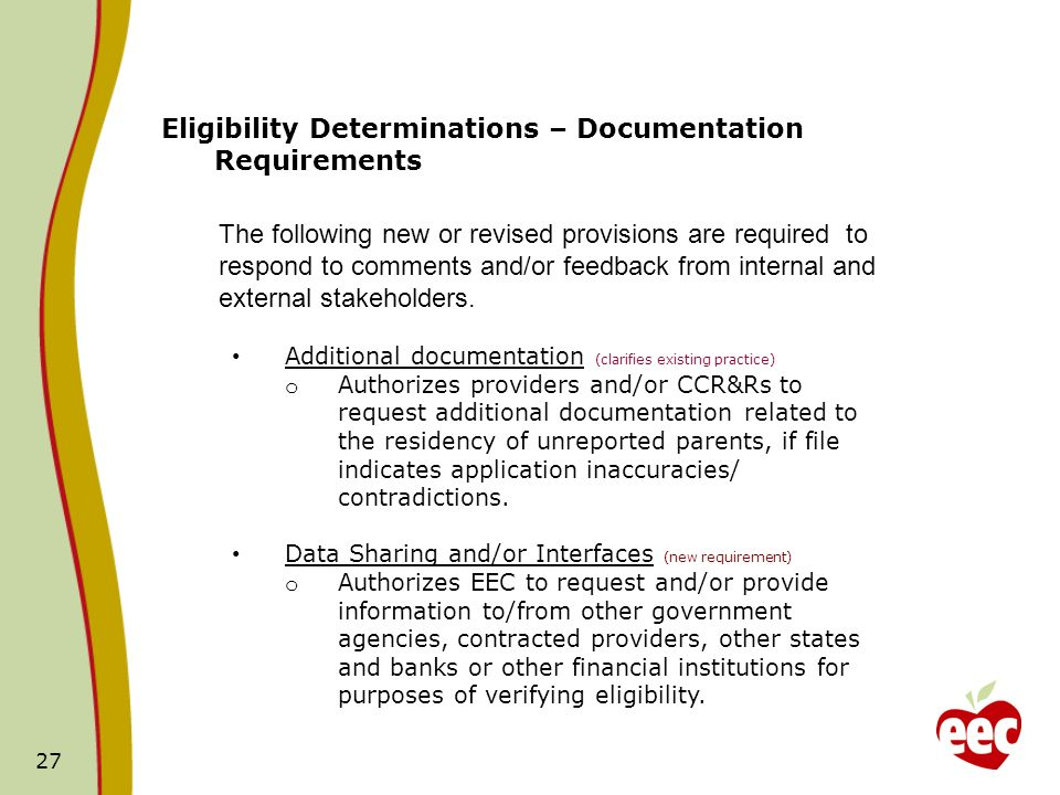 Eligibility Determinations – Documentation Requirements