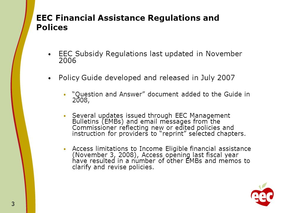 EEC Financial Assistance Regulations and Polices