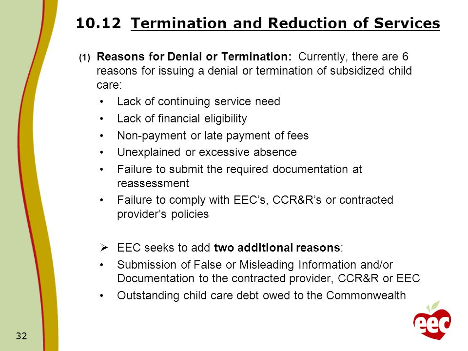 10.12 Termination and Reduction of Services