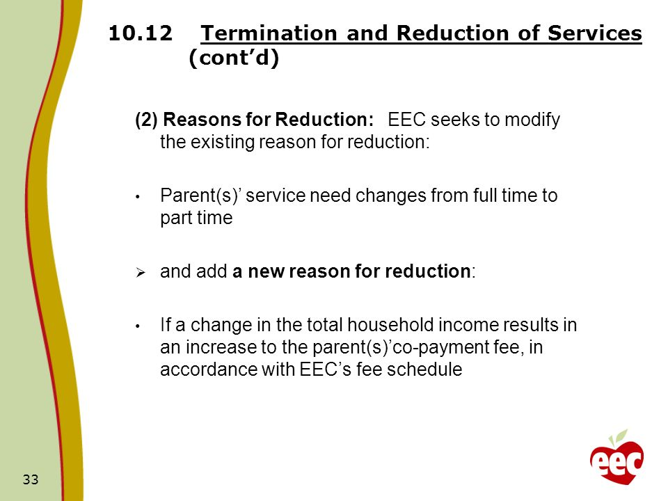 10.12 Termination and Reduction of Services (cont'd)