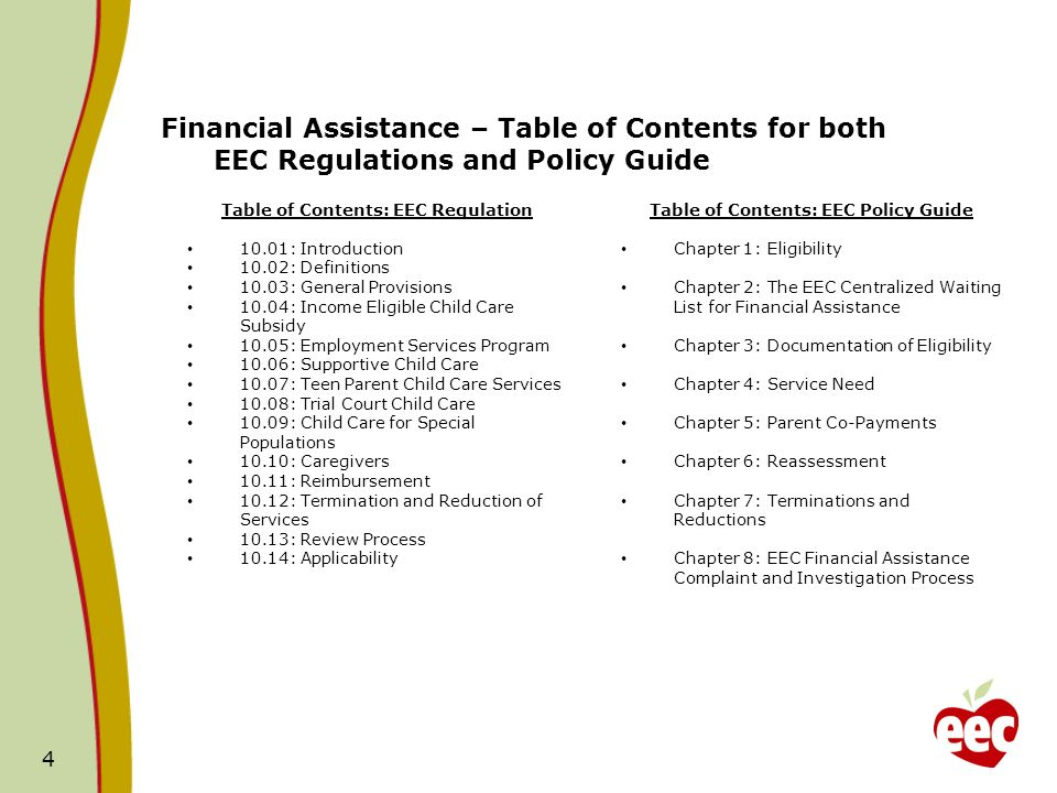 Table of Contents: EEC Regulation Table of Contents: EEC Policy Guide