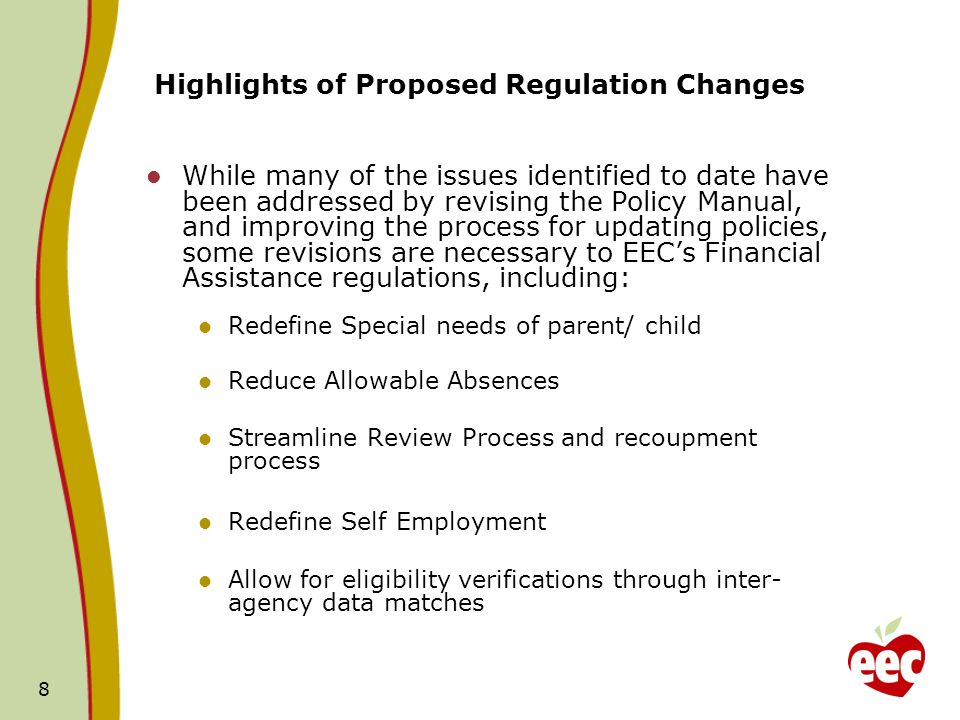 Highlights of Proposed Regulation Changes