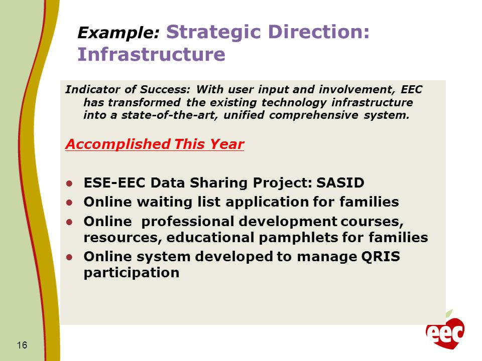 Example: Strategic Direction: Infrastructure
