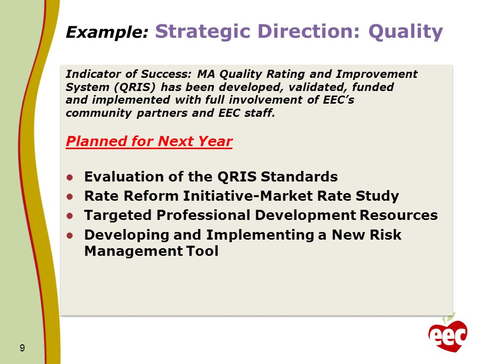 Example: Strategic Direction: Quality