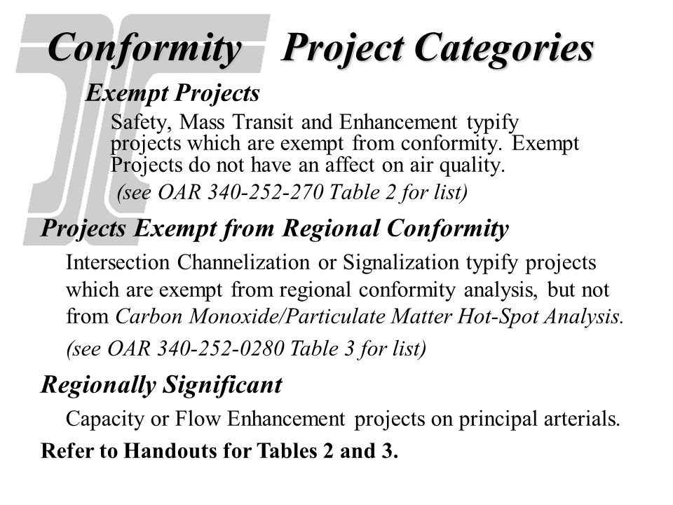 Conformity Project Categories