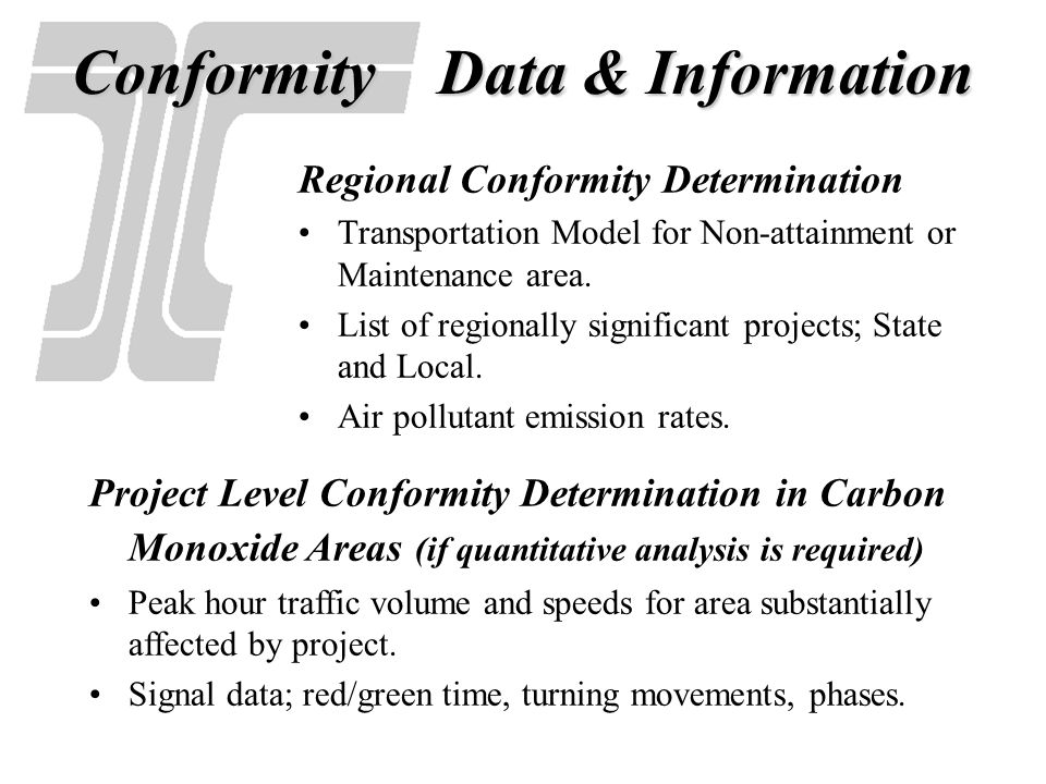 Conformity Data & Information