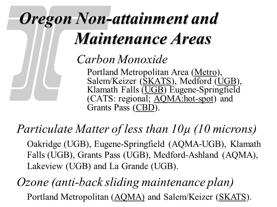 Oregon Non-attainment and Maintenance Areas