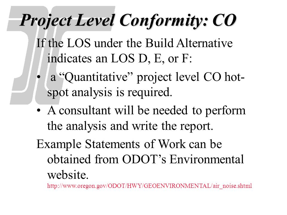 Project Level Conformity: CO