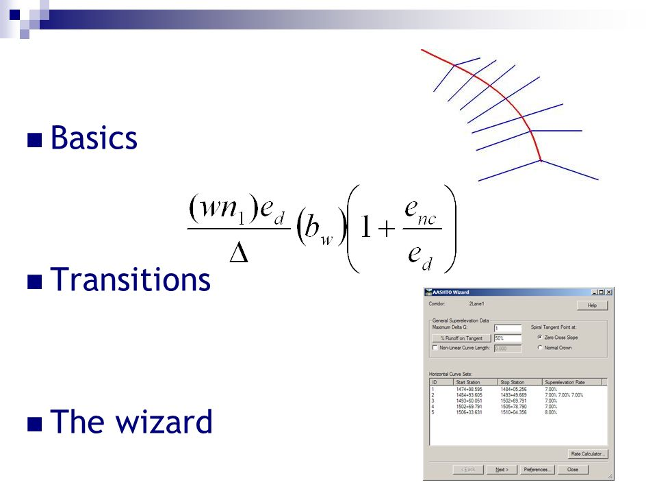 Basics Transitions The wizard