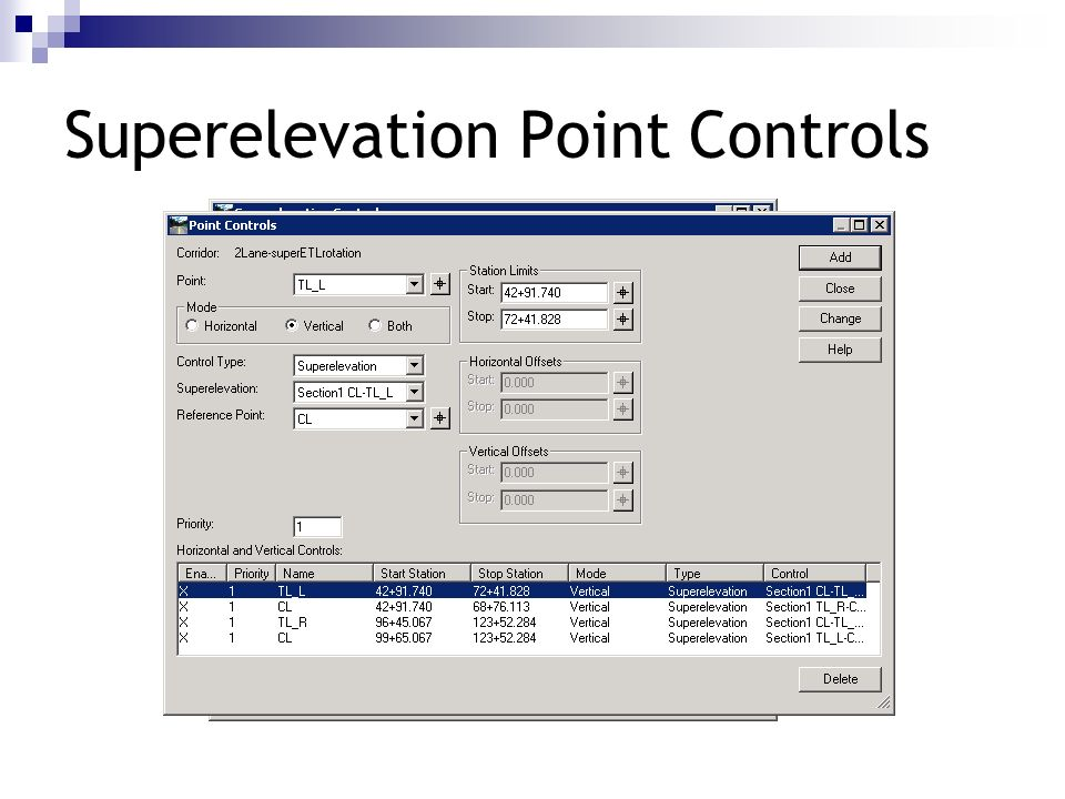 Superelevation Point Controls