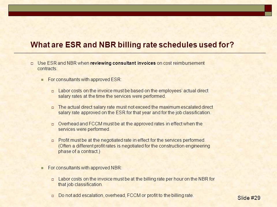What are ESR and NBR billing rate schedules used for