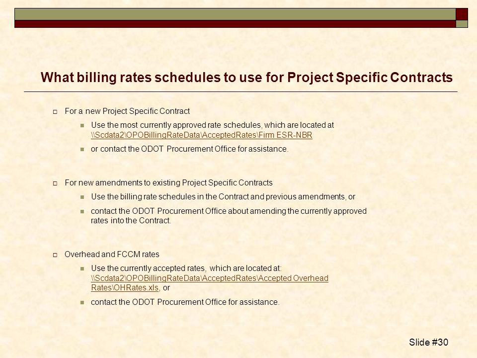 What billing rates schedules to use for Project Specific Contracts