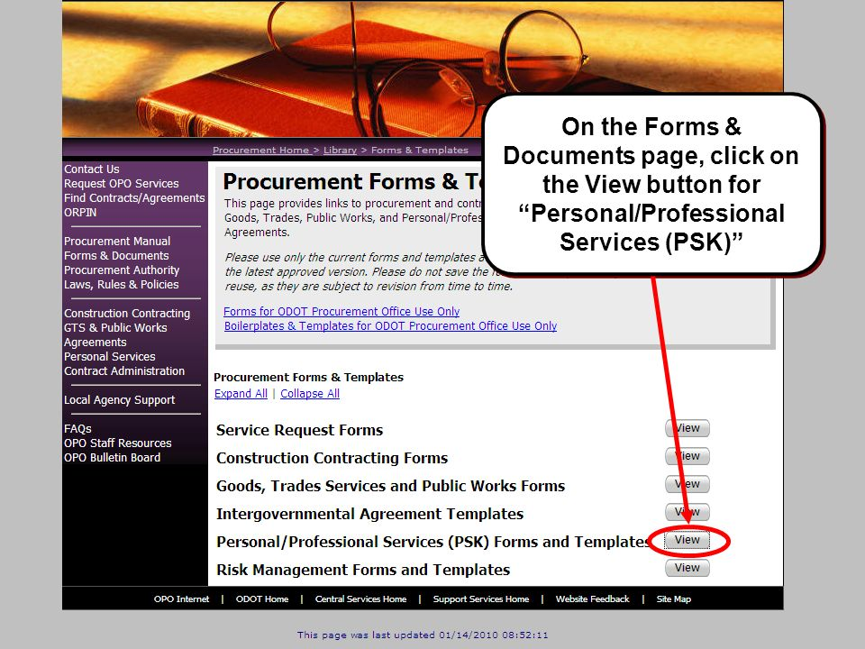 On the Forms & Documents page, click on the View button for Personal/Professional Services (PSK)