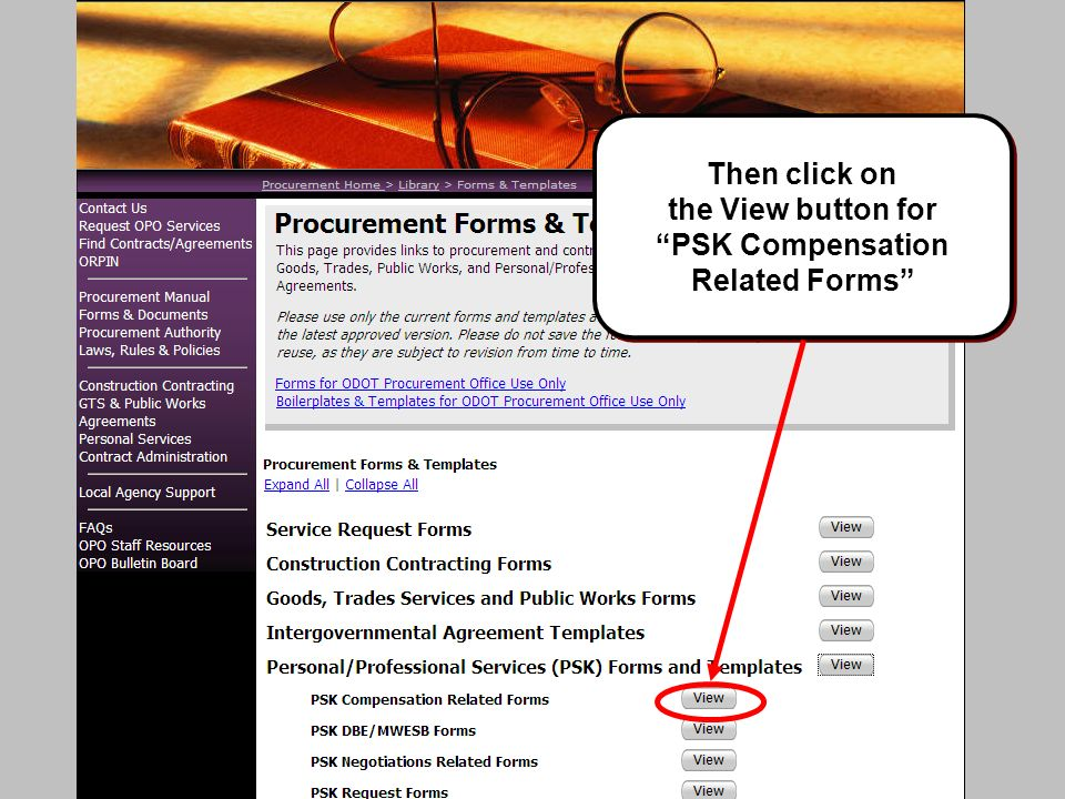 Then click on the View button for PSK Compensation Related Forms