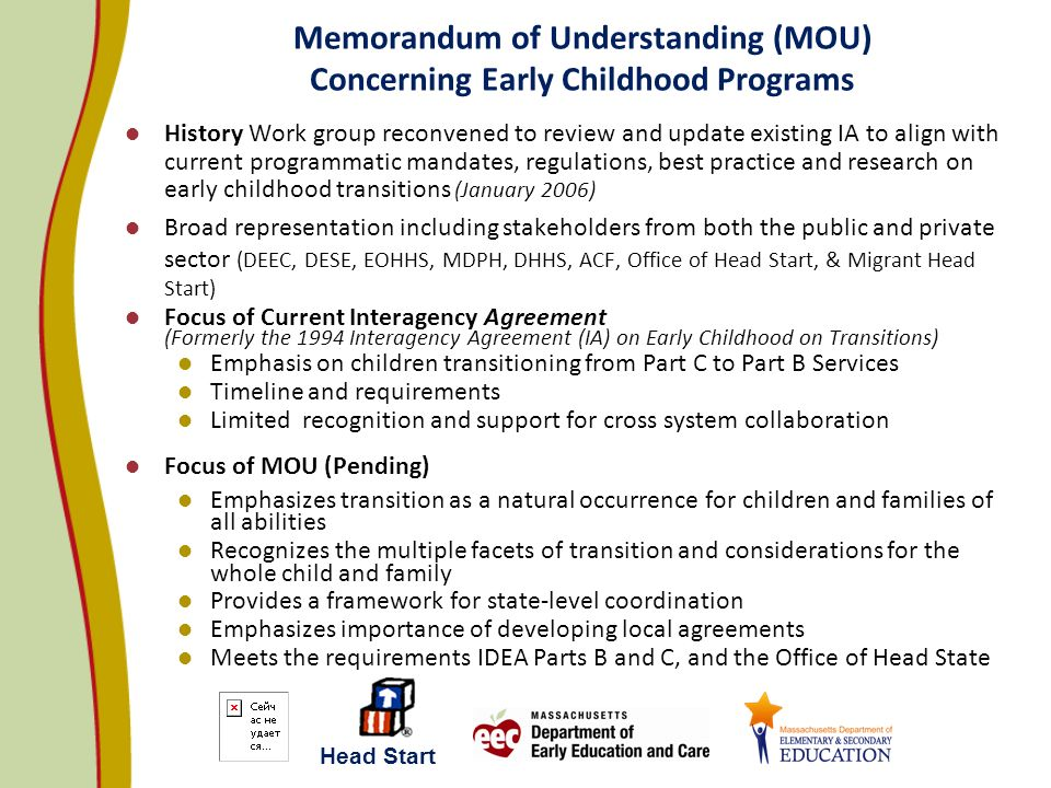 Memorandum of Understanding (MOU) Concerning Early Childhood Programs