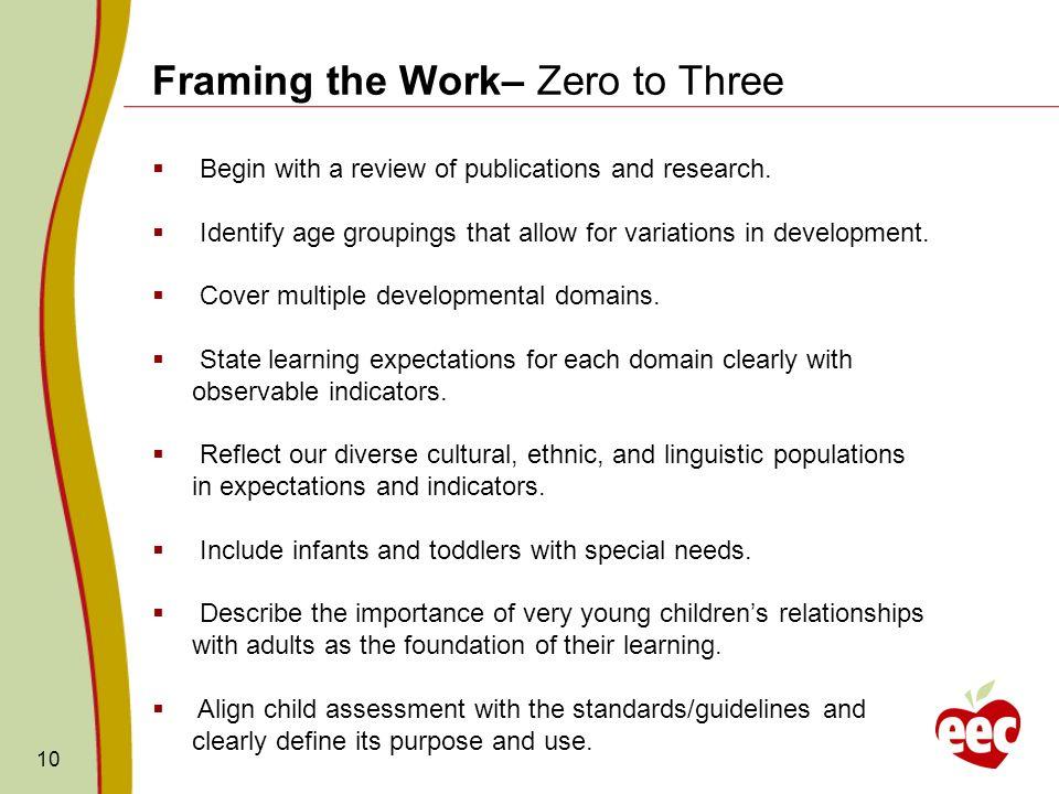 Framing the Work– Zero to Three
