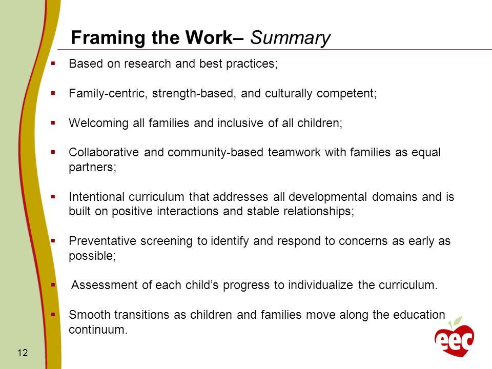 Framing the Work– Summary