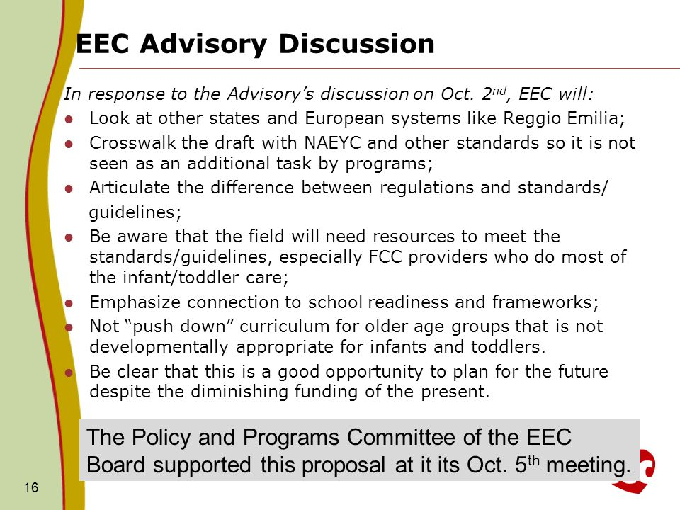 EEC Advisory Discussion