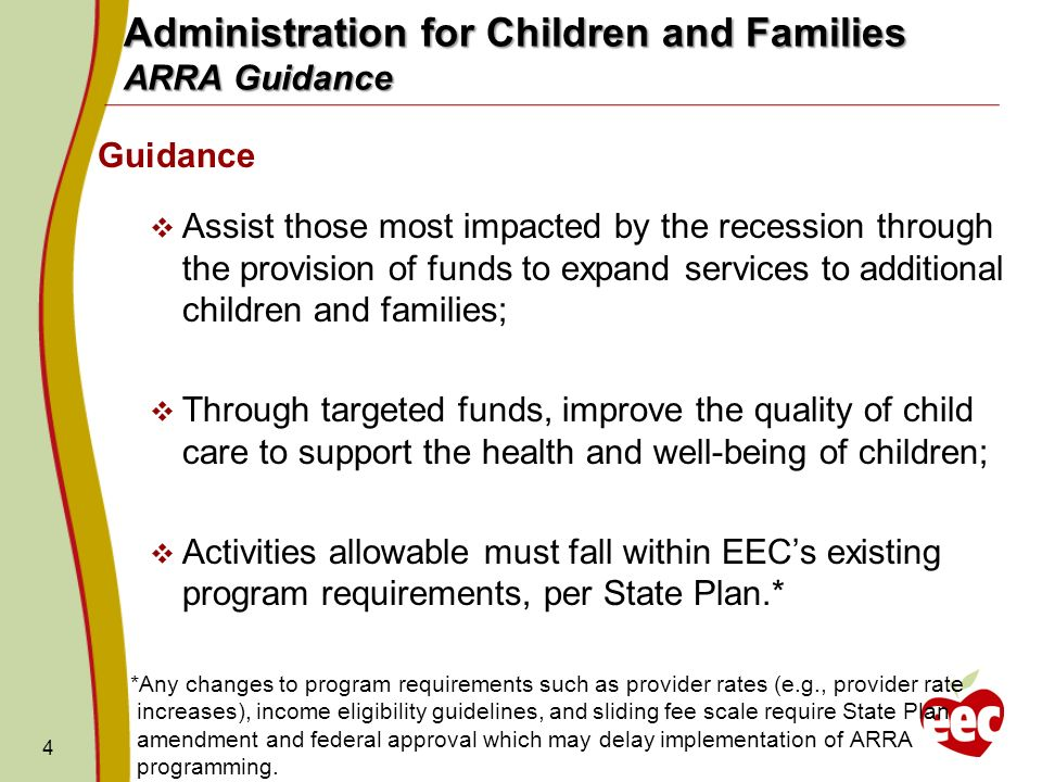 Administration for Children and Families ARRA Guidance