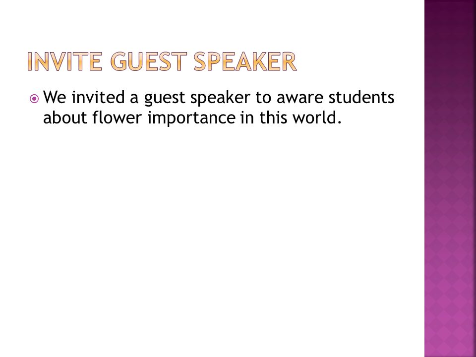 By class i taaleem foundation zhob ppt video online download 5 invite guest speaker we invited a guest speaker to aware students about flower importance in this world altavistaventures Gallery