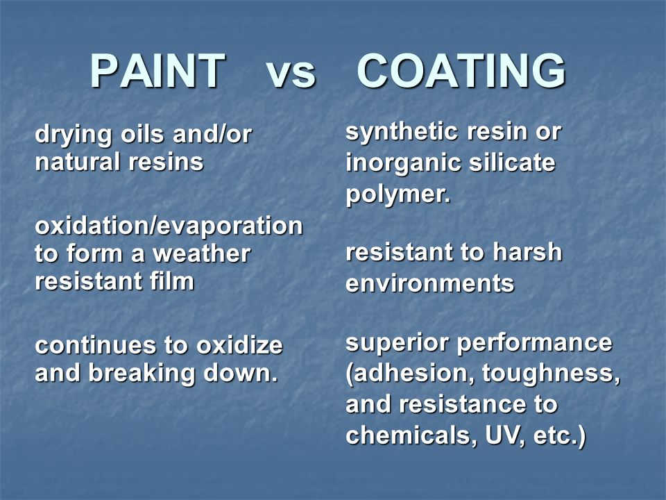PAINT vs COATING synthetic resin or inorganic silicate polymer.