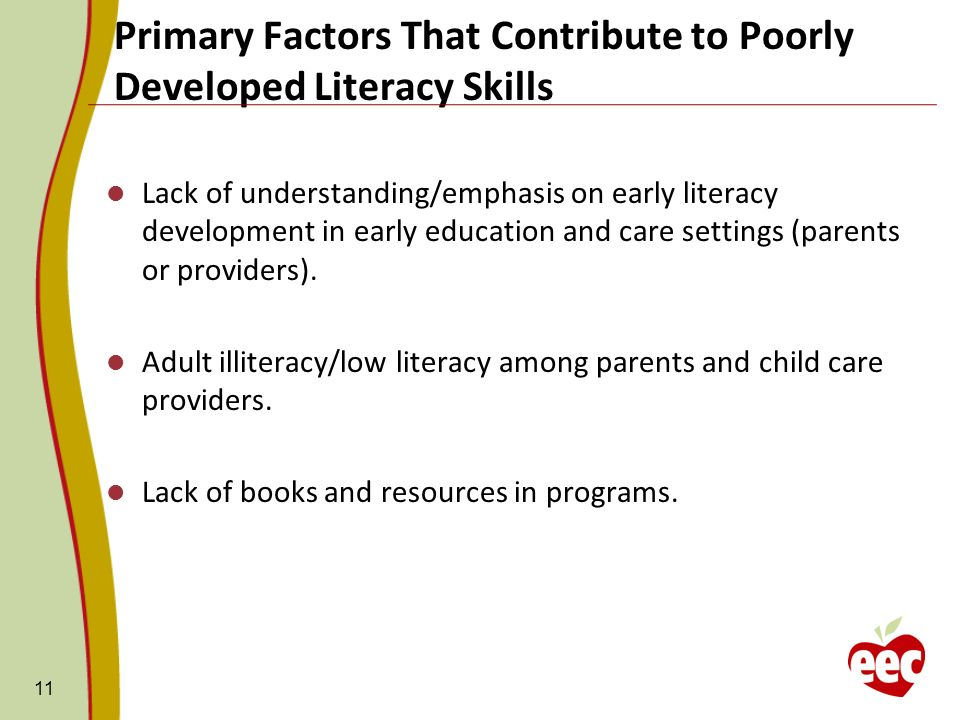 Primary Factors That Contribute to Poorly Developed Literacy Skills