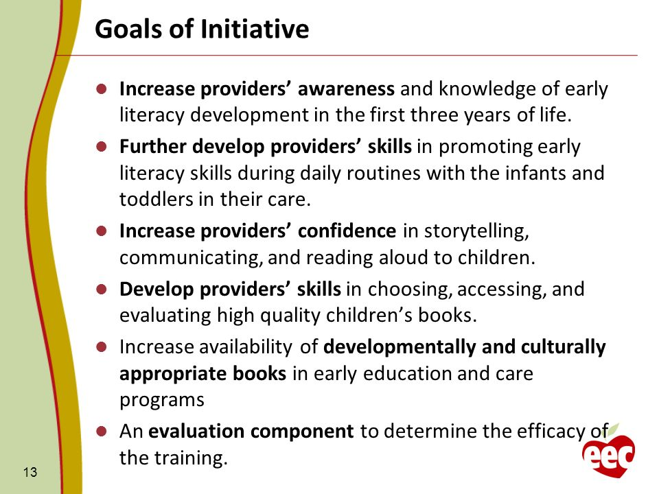 Goals of Initiative Increase providers' awareness and knowledge of early literacy development in the first three years of life.