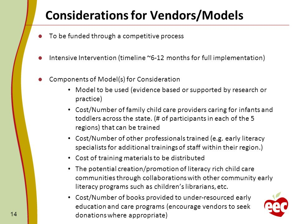 Considerations for Vendors/Models