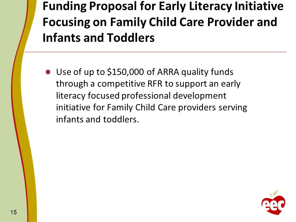 Funding Proposal for Early Literacy Initiative Focusing on Family Child Care Provider and Infants and Toddlers